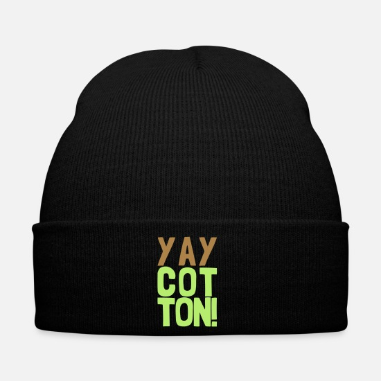 Dress Caps & Hats - yay cotton saying funny clothes - Winter Hat black