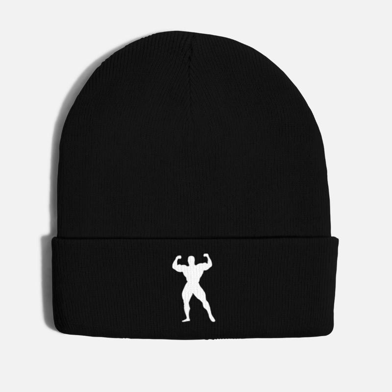 Martial Arts Caps & Hats - Bodybuilding Muscles Weights Strong man's body - Winter Hat black
