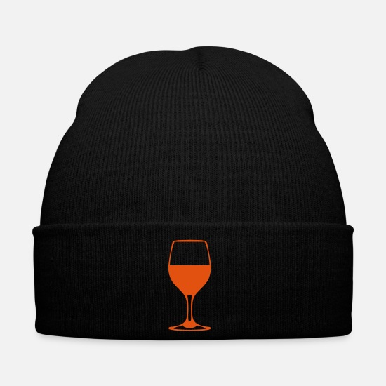 Alcohol Caps & Hats - alcohol wine glass 610 - Winter Hat black