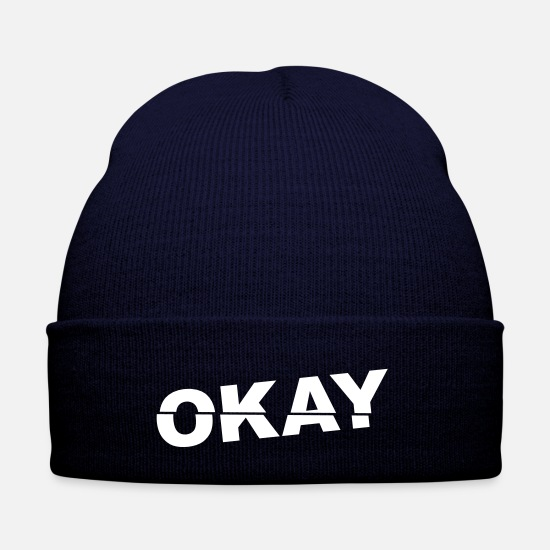 Gift Idea Caps & Hats - OK cool word funny modern gift - Winter Hat navy