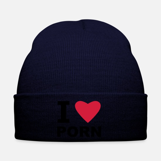 Heart Caps & Hats - I love Porn - Winter Hat navy