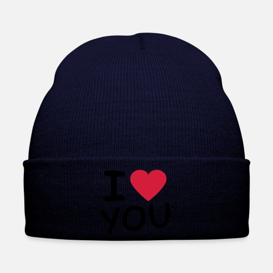 Heart Caps & Hats - i_love_you_2c - Winter Hat navy