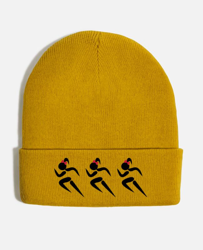 Taekwondo Girls Caps & Hats - ❤✦Sexy Three Sprinters Wearing a Pony tail✦❤ - Winter Hat mustard yellow