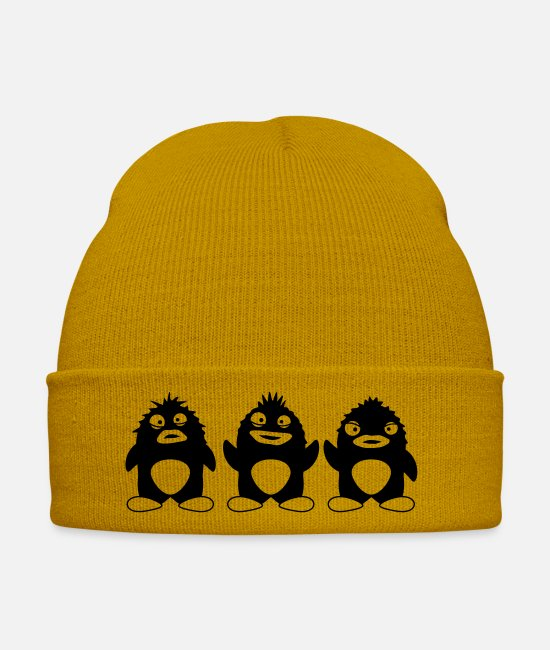 Miscellaneous Caps & Hats - Funny Penguins - Winter Hat mustard yellow