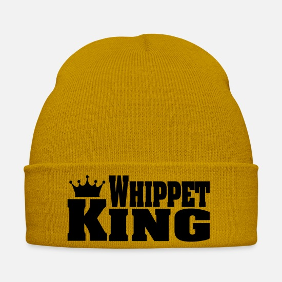 Dog Owner Caps & Hats - WHIPPET King - Winter Hat mustard yellow