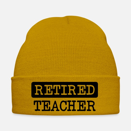 Career Caps & Hats - Retired Teacher - Winter Hat mustard yellow