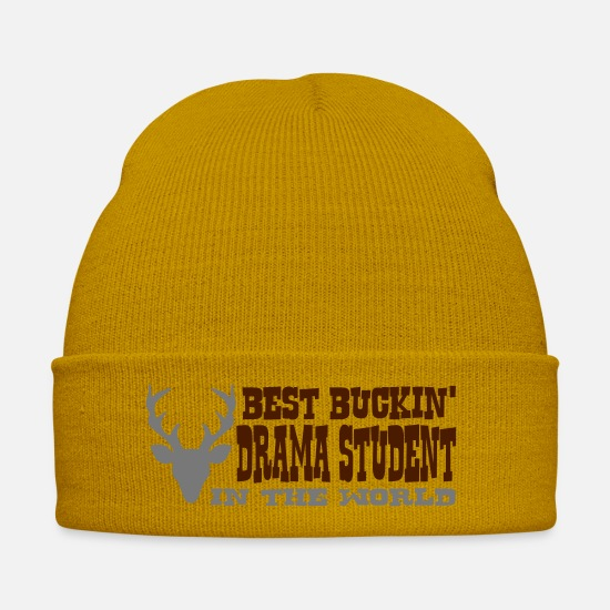 Student Caps & Hats - best buckin drama student in the world - Winter Hat mustard yellow