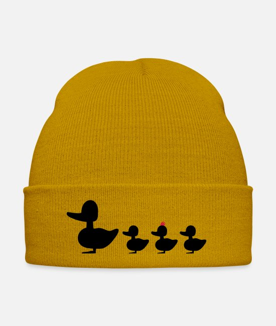 Hair Caps & Hats - Duck family with punk revolutionaries duck - Winter Hat mustard yellow