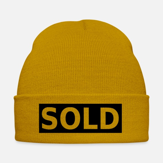 Sold Caps & Hats - sold big font bachelor party - Winter Hat mustard yellow