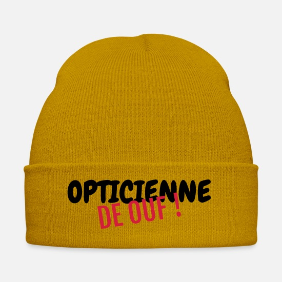 Ophthalmologist Caps & Hats - Optician Optiker Opticien Glasses Eyes Lunettes - Winter Hat mustard yellow