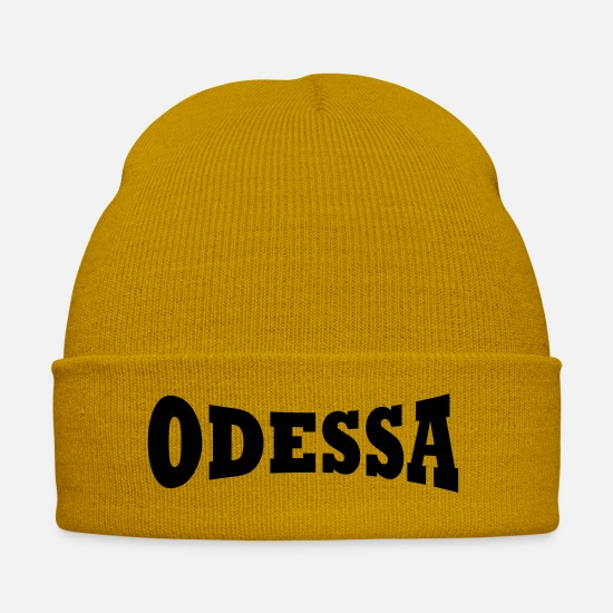 Lettering Caps & Hats - Odessa lettering - Winter Hat mustard yellow