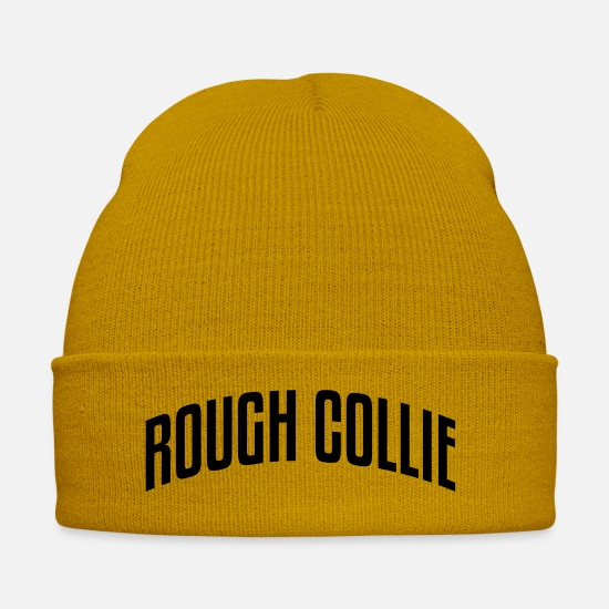 Stylish Caps & Hats - rough collie stylish arched text logo co - Winter Hat mustard yellow