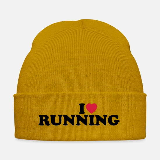 Training Caps & Mützen - I love running - Wintermütze Senfgelb