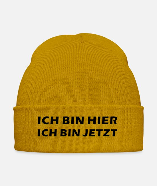 Wisdom Caps & Hats - I AM HERE - I AM NOW - Winter Hat mustard yellow