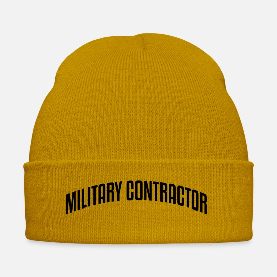 Movie Caps & Hats - military contractor stylish arched text - Winter Hat mustard yellow