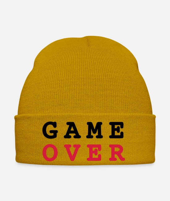 Noob Caps & Hats - Game Over - Winter Hat mustard yellow