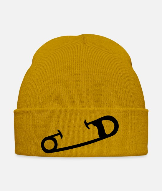 PS Casquettes et bonnets - safety_pin_1_f1 - Bonnet jaune moutarde