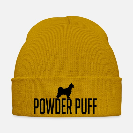 Dog Owner Caps & Hats - POWDER PUFF dog - Winter Hat mustard yellow