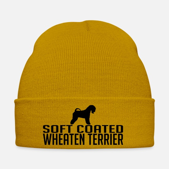 Dog Owner Caps & Hats - SOFT COATED WHEATEN TERRIER dog - Winter Hat mustard yellow