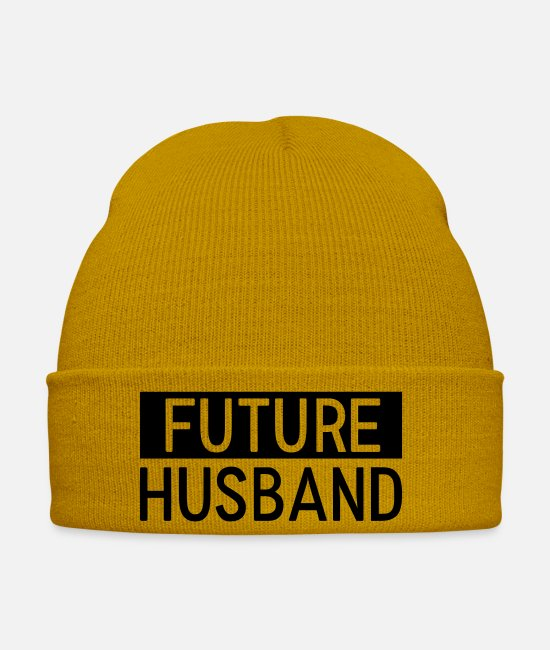 Heart Caps & Hats - Husband. Family. Father. Dad - Winter Hat mustard yellow