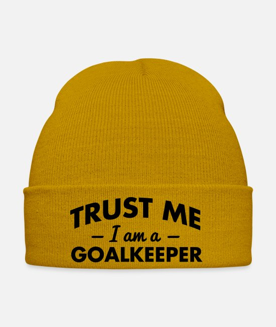 Ball Caps & Hats - trust me i am a goalkeeper - Winter Hat mustard yellow