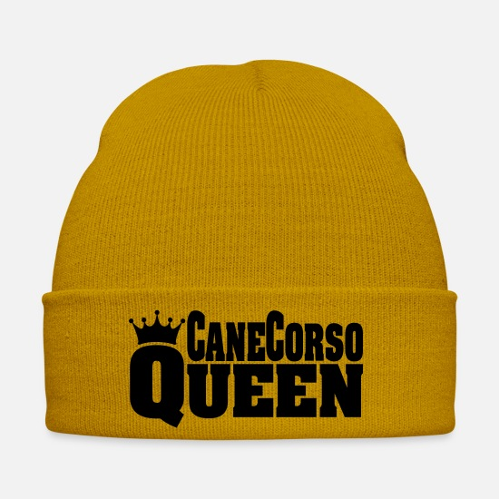 Dog Owner Caps & Hats - CANE CORSO QUEEN - Winter Hat mustard yellow