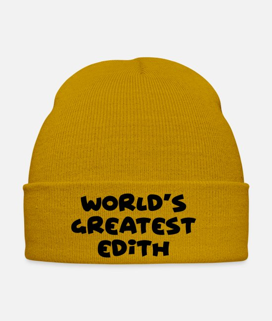 Edith Caps & Hats - worlds greatest edith name - Winter Hat mustard yellow
