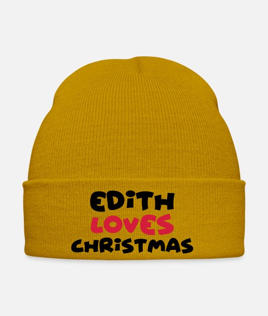 Christmas Caps & Hats - edith loves christmas xmas name - Winter Hat mustard yellow