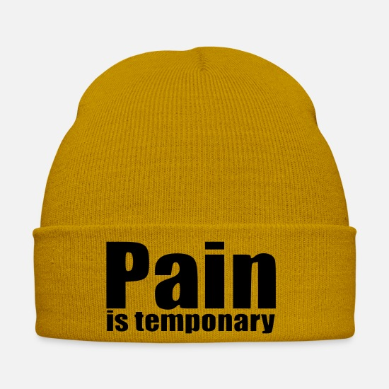 Birthday Caps & Hats - Pain is temponary running sports gift birthday - Winter Hat mustard yellow