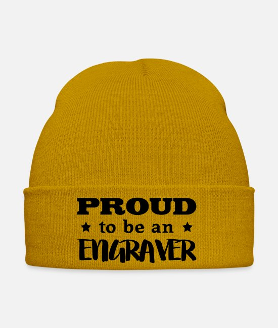 Skirt Caps & Hats - engraver proud to be - Winter Hat mustard yellow