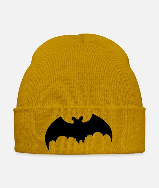 Bats Caps & Hats - Bat flying fox vampire Halloween animal fly - Winter Hat mustard yellow