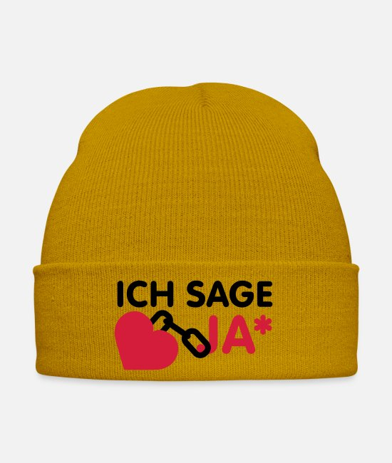 Design Caps & Hats - Ich sage ja | Herz | Heart - Winter Hat mustard yellow