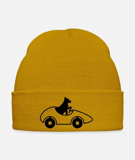 Car Tires Caps & Hats - car driver license fast dog cute su - Winter Hat mustard yellow