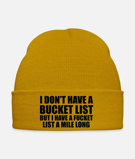 Offensif Casquettes et bonnets - I Don't Have A Bucket List - Bonnet jaune moutarde