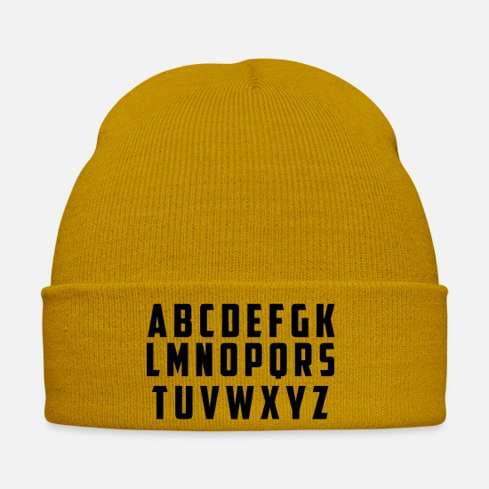 Birthday Caps & Hats - alphabet - Winter Hat mustard yellow