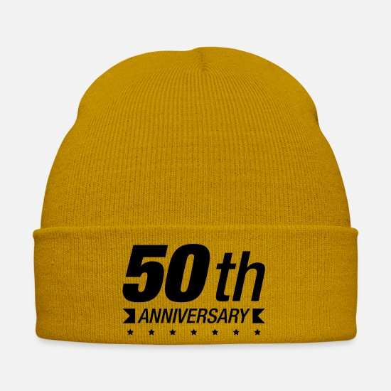 Birthday Caps & Hats - 50_anniversary_wq1 - Winter Hat mustard yellow