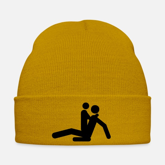 Sexist Caps & Hats - Sex positions - Winter Hat mustard yellow