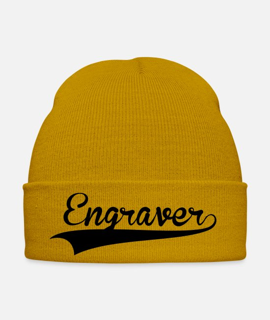Skirt Caps & Hats - engraver retro college baseball style lo - Winter Hat mustard yellow