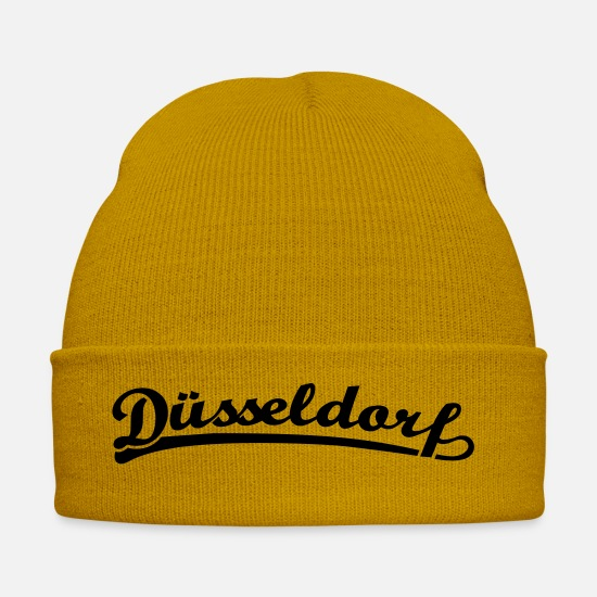 Lettering Caps & Hats - Dusseldorf font Retro - Winter Hat mustard yellow