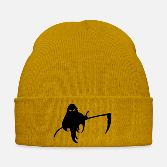 Death Caps & Hats - Evil Ghost with Scythe - Winter Hat mustard yellow