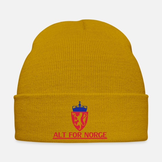 Norway Caps & Hats - Norway, Oslo, Bergen, Kingdom, Stavanger - Winter Hat mustard yellow
