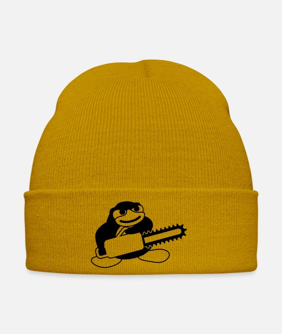 Game Over Caps & Hats - Chainsaw Penguin - Winter Hat mustard yellow