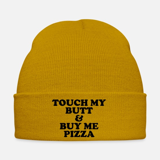 Single Caps & Hats - Touch my butt & buy me pizza - Winter Hat mustard yellow