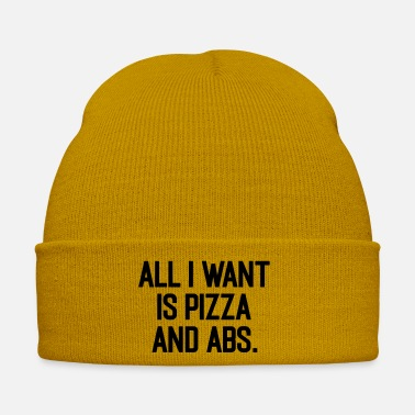 Train Pizza & Abs Funny Gym Saying - Winter Hat