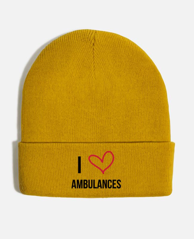 Office Caps & Hats - EMT / Ambulance / Emergency / Doctor / Hospital - Winter Hat mustard yellow
