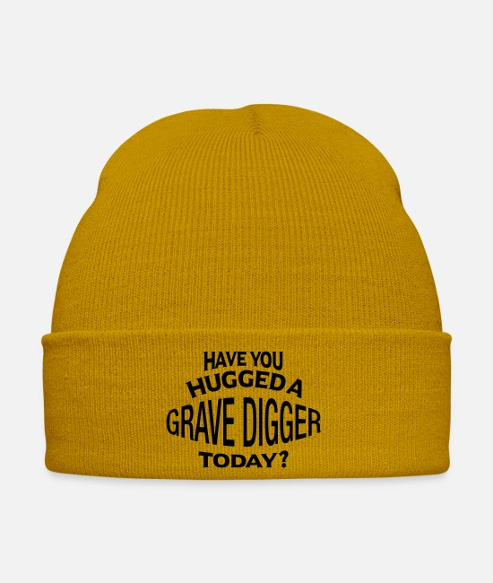 Today Caps & Hats - have you hugged a grave digger today - Winter Hat mustard yellow
