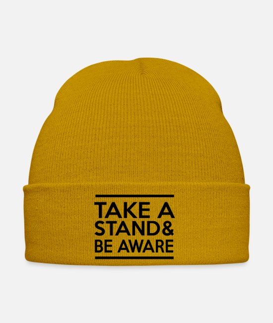 Stand Caps & Hats - Take a Stand & Be Aware - Winter Hat mustard yellow
