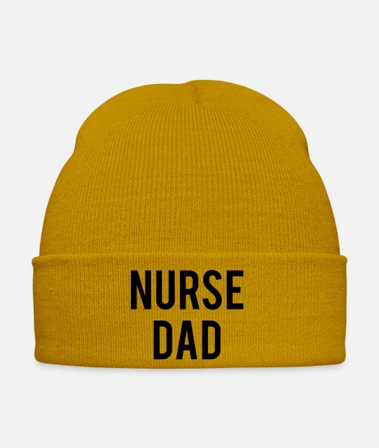 Career Caps & Hats - NURSE DAD - Winter Hat mustard yellow