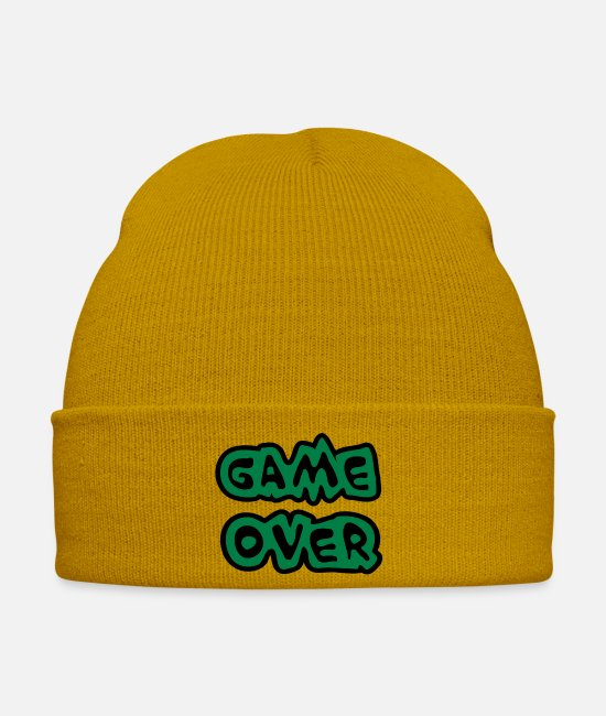 N00b Caps & Hats - Game Over - Winter Hat mustard yellow