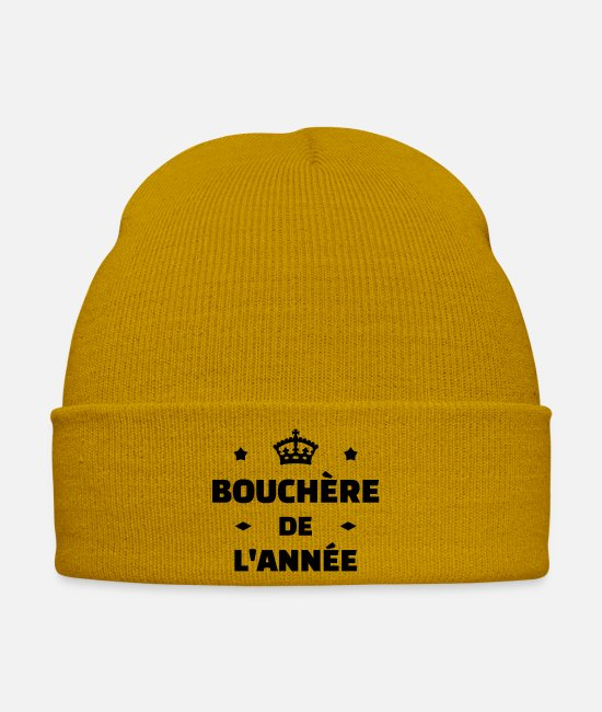 Butcher Caps & Hats - Butcher Metzger Boucher Carnicero Meat BBQ - Winter Hat mustard yellow
